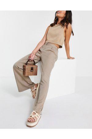 Closet Ženy Společenské - Slouchy flare tailored trouser in light beige-Brown