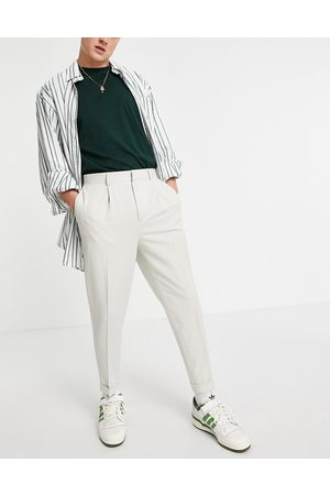 ASOS Muži Chino - Tapered smart trousers in off white-Neutral