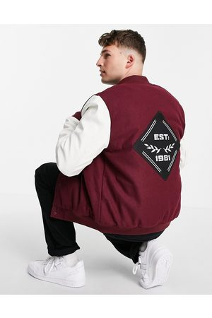 ASOS Varsity bomber jacket with faux leather sleeves in red and white