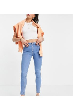 Pull&Bear Tall high waisted skinny jeans in mid blue