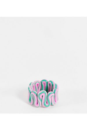 ASOS Curve ASOS DESIGN Curve ring in plastic chubby swiggle design in green and pink marble-Multi
