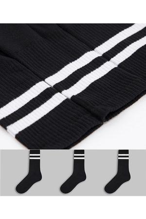 New Look Muži Ponožky - 3 pack stripe sport socks in black