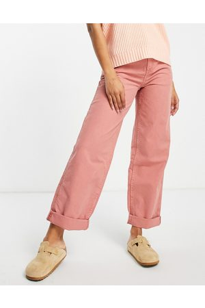 ASOS Slouchy chino trouser in pink-Brown