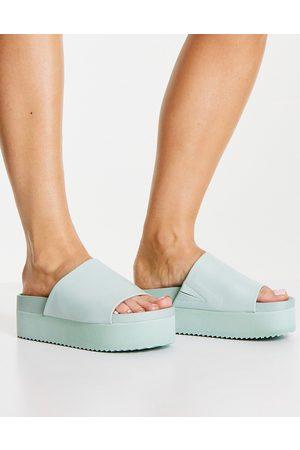 Monki Ženy Sandály - Normandy flatform sandals in green-White