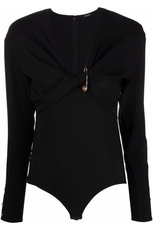VERSACE Safety pin-detail twist-front bodysuit