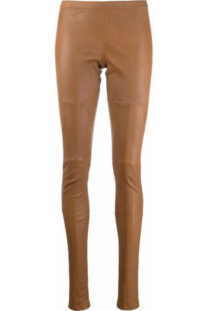Rick Owens Ženy Legíny - Low-rise leather leggings