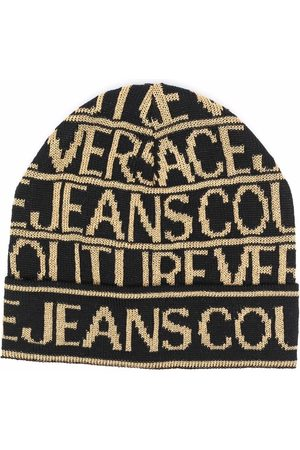 Versace Jeans Couture All-over logo knit beanie