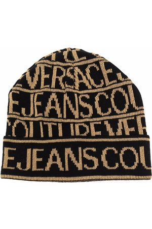 VERSACE Logo-print ribbed-knit beanie