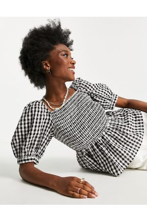 New Look Gingham shirred square neck blouse in black