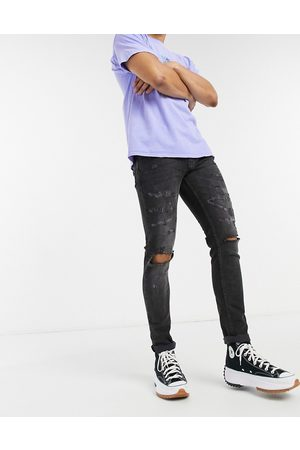 Topman Skinny jeans with rips in washed black