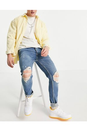 Topman Skinny jeans with rips in mid wash-Blue
