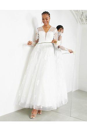 ASOS Aurora long sleeve embroidered plunge dress-White