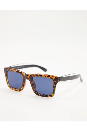 AJ Morgan Unisex square sunglasses with navy dial in brown tort