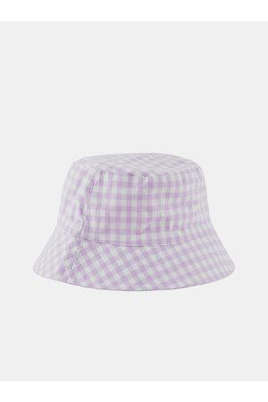 Pieces Bílo-fialový kostkovaný klobouk Laya