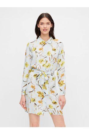 Pieces Světle modré květované košilové šaty Lillian