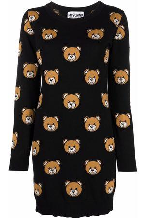 Moschino Teddy-intarsia knitted dress