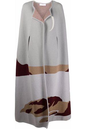 AMI AMALIA Intarsia-knit cape coat