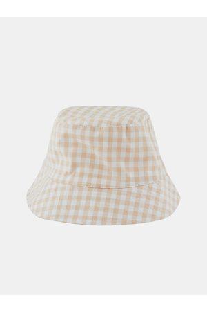 Pieces Ženy Klobouky - Bílo-béžový kostkovaný klobouk Laya