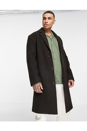 ASOS Relaxed fit longline wool mix overcoat in brown