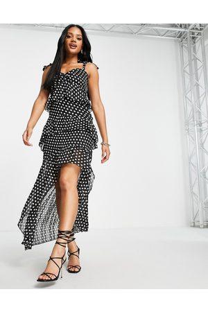 Lipsy Tie shoulder hi low dress in polka dot-Multi