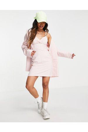 Heartbreak Cami strap mini dress co-ord in pink gingham