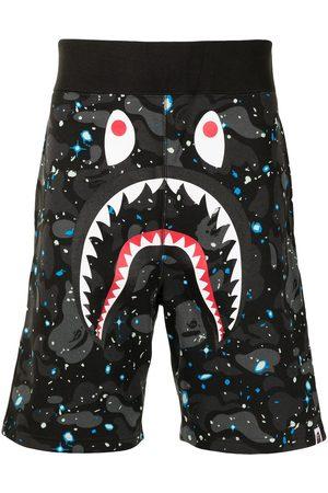 A BATHING APE® Camouflage shark-print track shorts