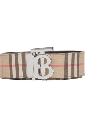 Burberry Muži Pásky - Reversible monogram-plaque checked belt