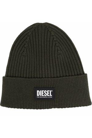 Diesel Čepice - Logo-patch rib-knit beanie