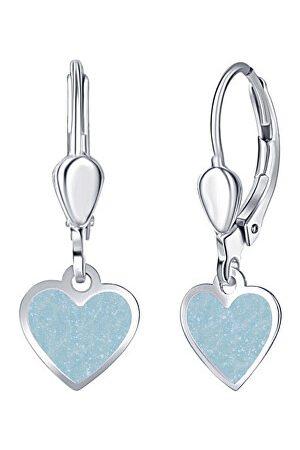 Praqia Dívčí stříbrné náušnice Modré srdce NA