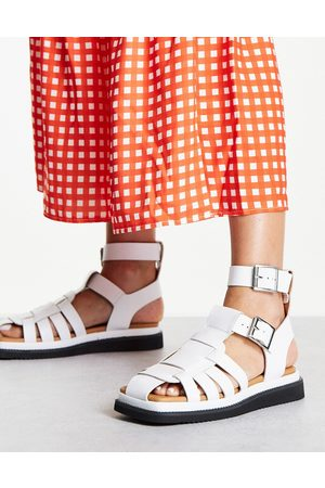 Topshop Pace leather Gladiator Sandal in White