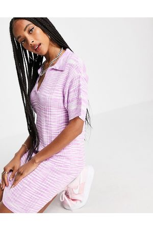 ASOS Knitted mini dress with open collar in space dye yarn in pink