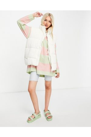 Monki Lacy recycled padded sleeveless jacket in white