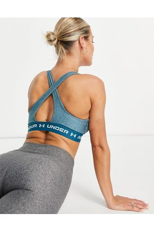 Under Armour Ženy Sportovní - Training Crossback mid support sports bra in teal heather-Blue