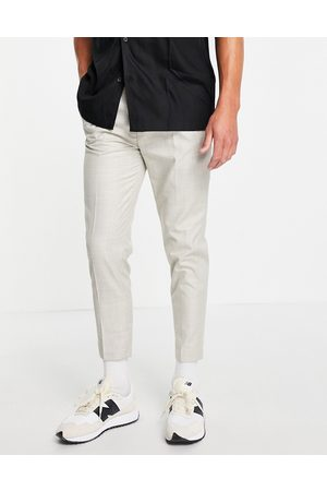 ASOS DESIGN Tapered smart linen trousers in cream price on wales check-White