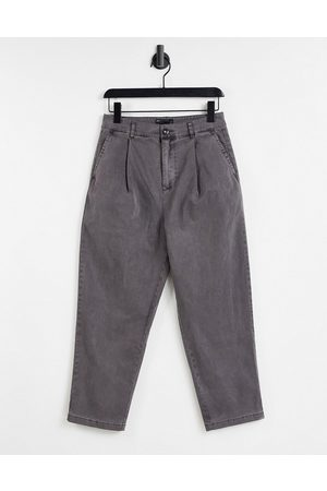 ASOS Wide leg trousers with pleats in charcoal-Grey