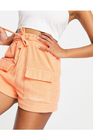 Missguided Ženy Tepláky - Co-ord towelling jogger short in orange
