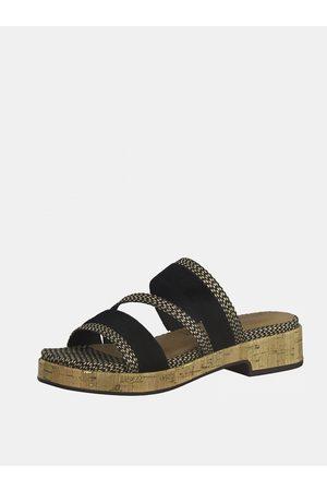 Tamaris Černé kožené pantofle