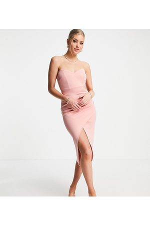 ASOS ASOS DESIGN Tall bandeau wrap tuck midi dress in pink