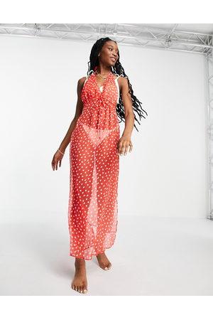 Brave Soul Halterneck beach dress in red heart print