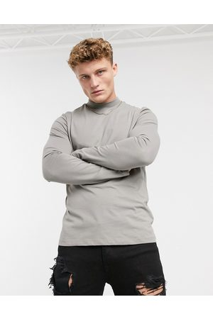 New Look Long sleeve turtle neck t-shirt in grey