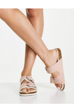 New Look Faux fur lined flat sandals in pink