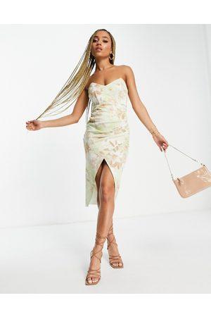 ASOS DESIGN Bandeau tuck midi dress in floral print-Multi