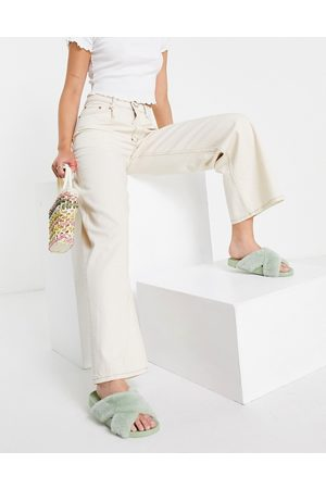 ASOS DESIGN High rise 'relaxed' dad jeans with pleat fronts in ecru-White