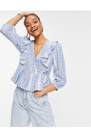 Y.A.S Wrap front blouse with pephem in blue print-Multi