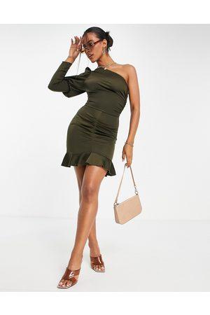 AX Paris One shoulder mini dress in olive-Green