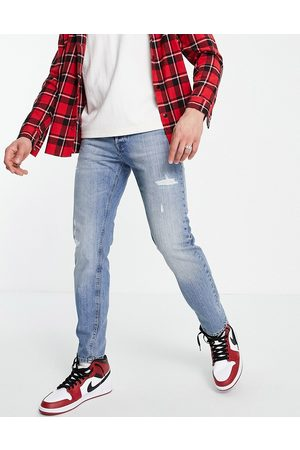 jack & jones Intelligence Mike straight fit jeans in with rips in blue