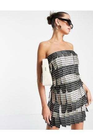 ASOS Mono layered satin bandeau mini dress-Multi