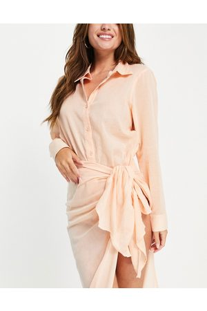 ASOS Ženy Košile - Beach shirt co ord in coral-Pink