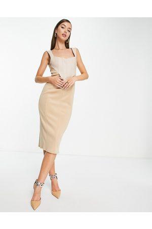 ASOS Linen corset pencil midi dress in stone-Neutral