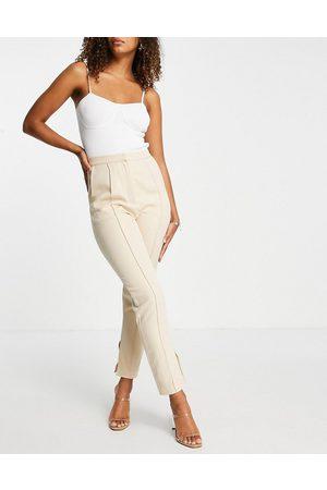 Rare Fashion London cigarette trouser co-ord in cream-White
